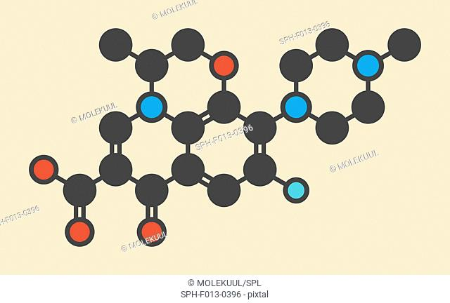 Floxacin antibiotic drug (fluoroquinolone class) molecule. Stylized skeletal formula (chemical structure). Atoms are shown as color-coded circles: hydrogen...