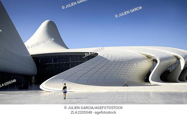Heydar Aliyev cultural center futuristic monument designed by the architect Zaha Hadid. Azerbaijan, Baku. Model Released