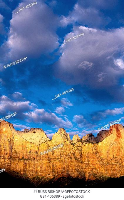 Dawn light on the Towers of the Virgin, Zion Canyon, Zion National Park, Utah