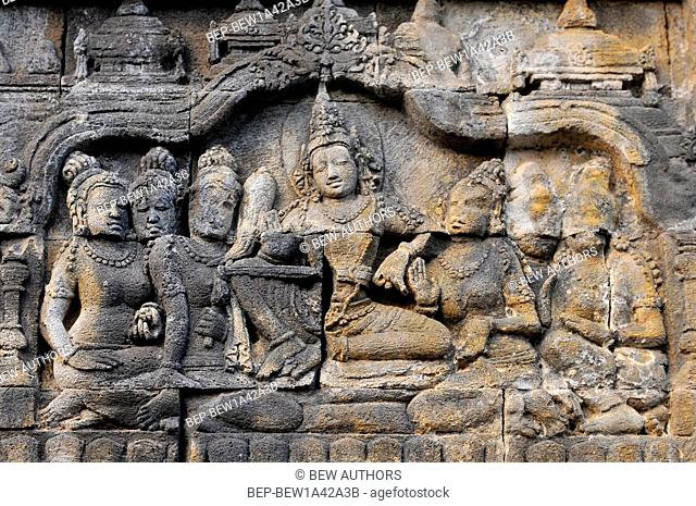 Bas-relief in ancient buddhist temple Borobudur, Yogjakarta Indonesia