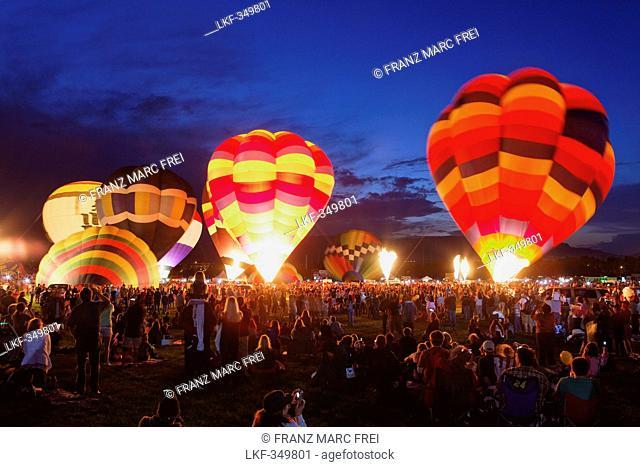 Night glow at the annual Balloon Classic September, Colorado Springs, Colorado, USA, North America, America