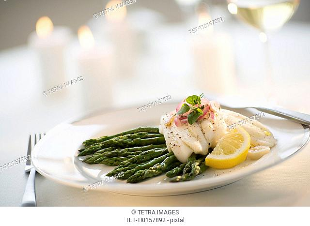 Seafood on plate in restaurant