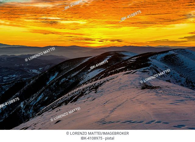 Sunset on Mount Nerone, Monte Nerone in winter, Apennines, Marche, Italy