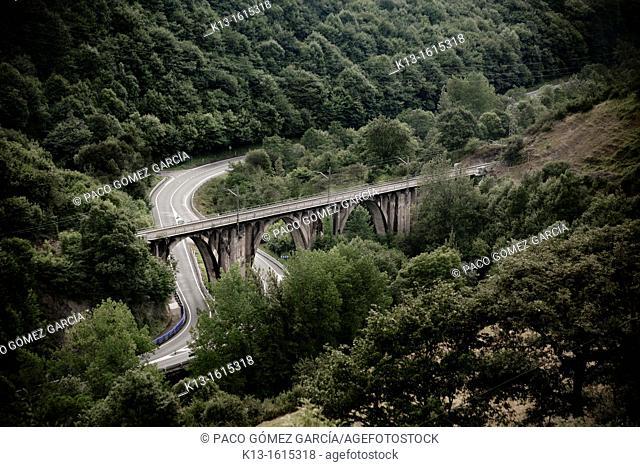 Las Fuentes railway bridge  Asturias  Spain  Europe