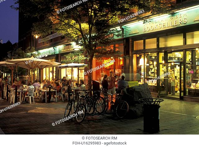 Burlington, Vermont, VT, Shops and cafes along Church Street Marketplace in downtown Burlington in the evening