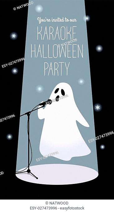 Invitation to karaoke Halloween party. Vector illustration of a cartoon ghost in a spotlight singing into a microphone. Long vertical format, black background