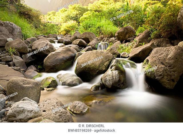 Creek at Kepaniwai County Park, USA, Hawaii, Maui, Iao Valley