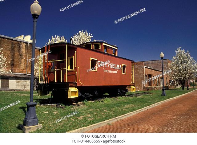 caboose, city park, Selma, Alabama, AL, Little Red Caboose displayed in Lafayette Park in Selma in the spring