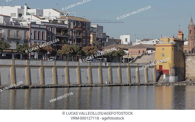 Triana and Isabel II bridge or Triana bridge. Guadalquivir river. Seville, Andalusia, Spain