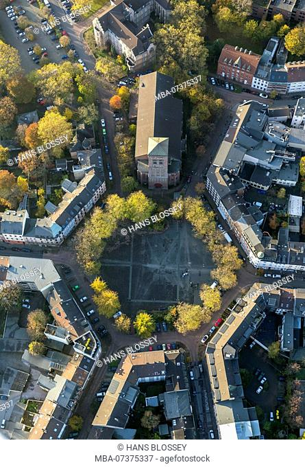 Catholic Church of Saint Joseph, Dellviertel Quarter, Dellplatz Square, aerial view of Duisburg, Ruhr area