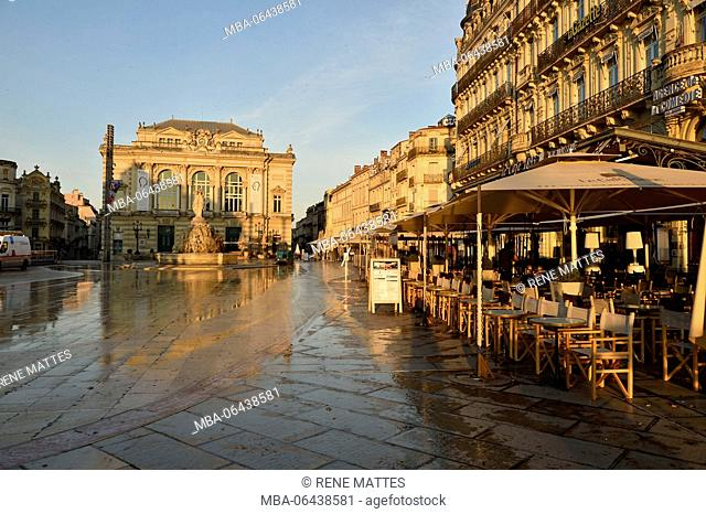 France, Herault, Montpellier, historical center, the Ecusson, Place de la Comedie (Comedy Square) with the Opera