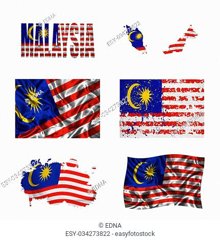 Malaysia flag and map in different styles in different textures