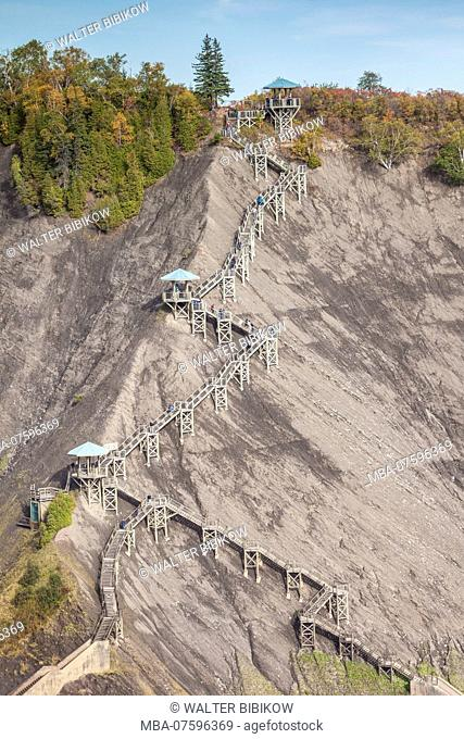 Canada, Quebec, Quebec City, Montmorency, Chutes Montmorency, waterfalls, panoramic stairs