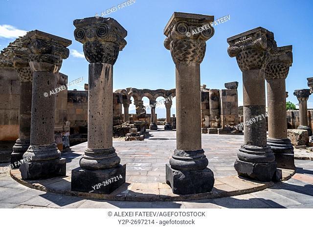 Ruins of Zvartnots cathedral (7th century) in Armenia