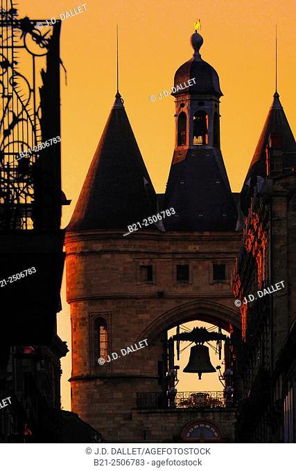 Grosse Cloche on Saint Eloï's gate at Bordeaux, Gironde, Aquitaine, France