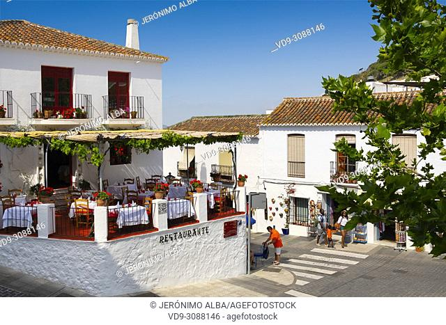 Restaurant and Hostal El Mirlo Blanco. Typical white village of Mijas. Costa del Sol, Málaga province. Andalusia, Southern Spain Europe