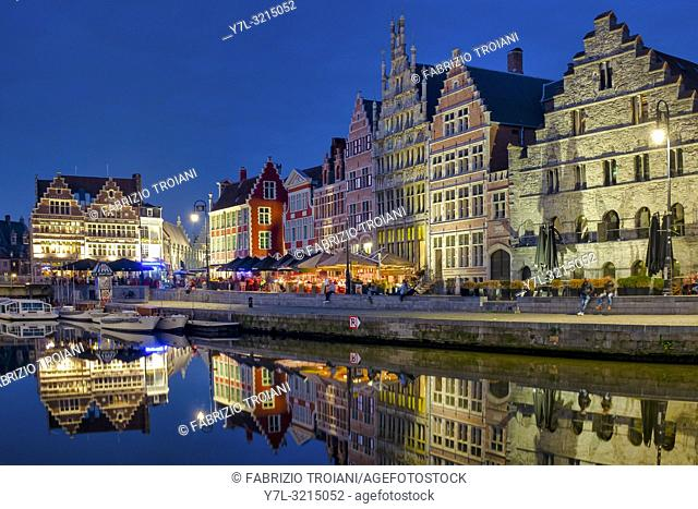 Graslei, a quay in the historic city center of Ghent, Flanders, Belgium