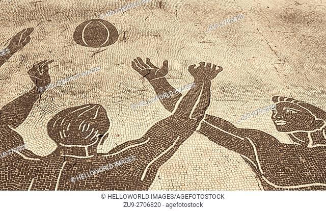 Mosaics of athletes in the Fascist era Foro Italico sports complex, Rome, Lazio, Italy, Europe