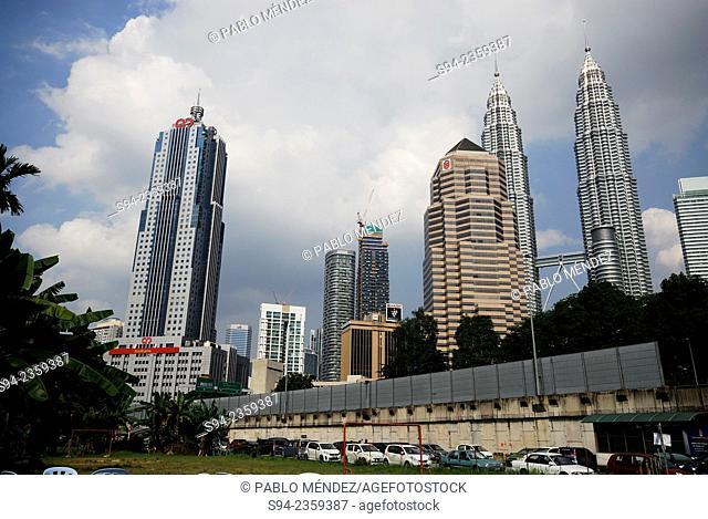 Skyline of Kuala Lumpur from Kampung Baru, Malaysia