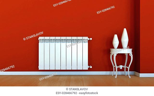 3d interior scene with radiator and vases