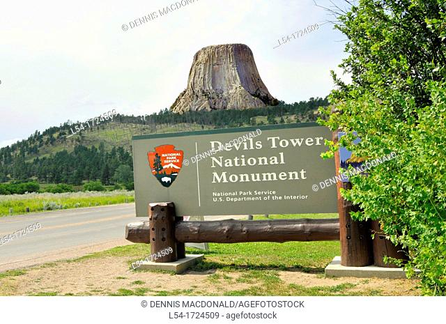 Entrance Devil's Tower National Monument Wyoming WY igneous intrusion laccolith