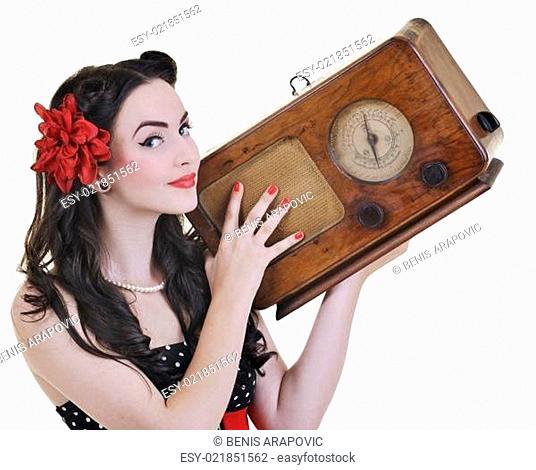 pretty girl listening music on radio