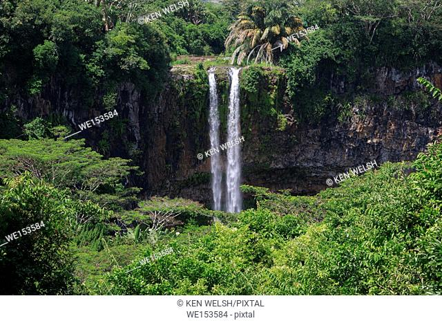 Mauritius. The 90 meter high twin waterfalls of the Cascade Chamarel