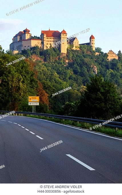 Germany, Bavaria, Romantic Road, Harburg, Empty Road and Harburg Castle