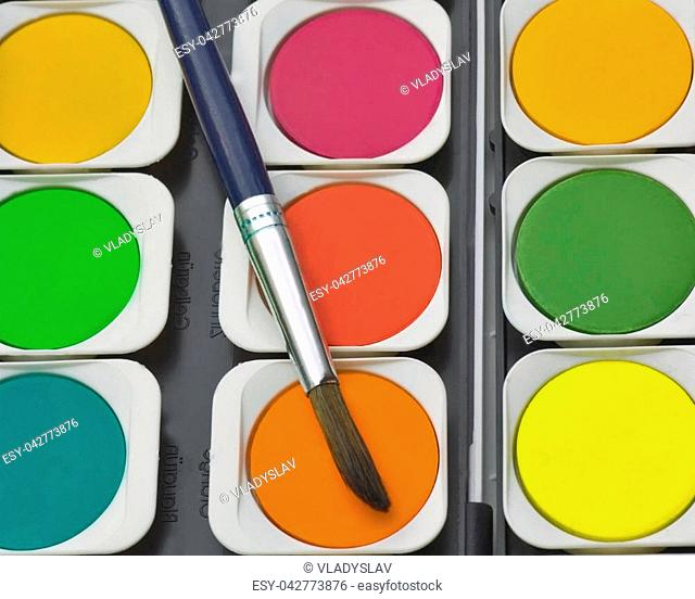 palette watercolor paint brush background, Top view