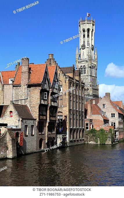 Belgium, Bruges, Belfry, canal scene,