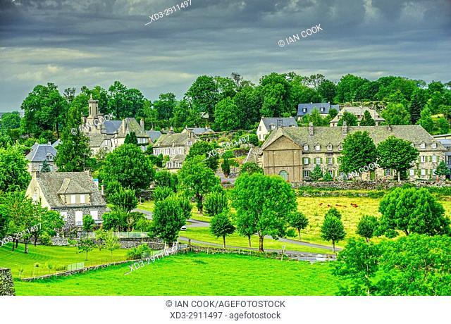 view from Esplanade de Barrouze, Salers, Cantal Department, Auvergne, France