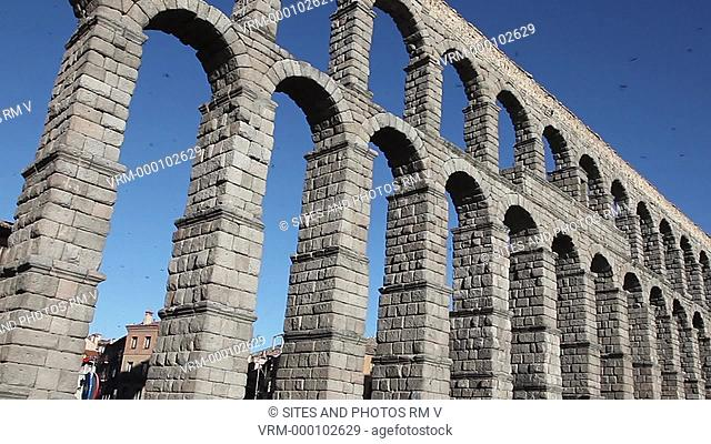 Exterior, LA, PAN, Daylight, view of the aqueduct Acueducto de Segovia, originally built in the 1st century AD and completed in the early 2nd century