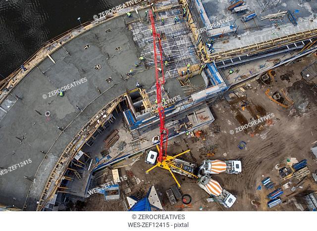 Giant concrete pump on construction site, top view