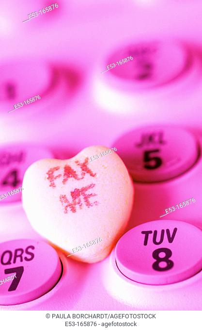 'FAX ME' candy heart on telephone keypad
