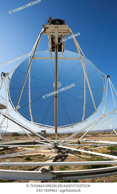 So-called Stirling dish, generating energy at one of Europe's biggest solar energy fields in the Tabernas Desert, Europe's only true desert  Almería province