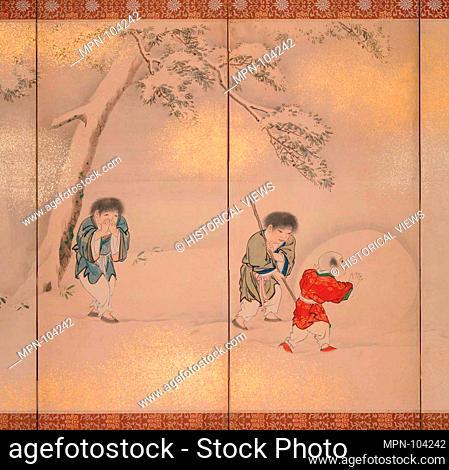 Children Playing in Summer and Winter. Artist: Maruyama Oshin (Japanese, 1790-1838); Period: Edo period (1615-1868); Culture: Japan; Medium: Pair of six-panel...