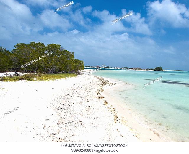 Tropical beach of island Cayo pirata, Los Roques, Venezuela