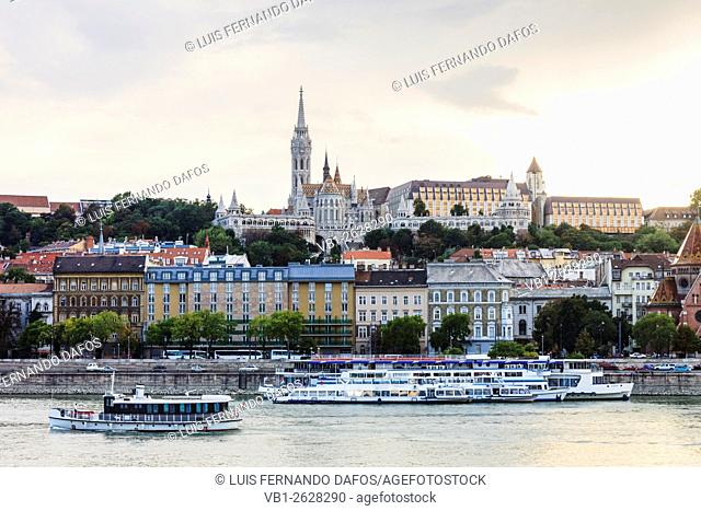 Buda Castle district and cruise boats. Budapest, Hungary