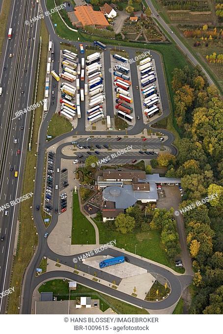 Aerial photograph, A2 Autobahn, Rhynern motorway service area, Hamm, Ruhr district, North Rhine-Westphalia, Germany, Europe