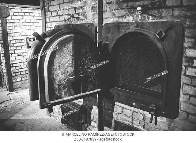 Auschwitz Nazi concentration and extermination camp. Crematory oven at Auschwitz. Auschwitz, German-occupied, Poland, Europe