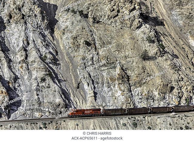 Freight train, Trans Canada railway, Thompson River Valley, British Columbia, Canada