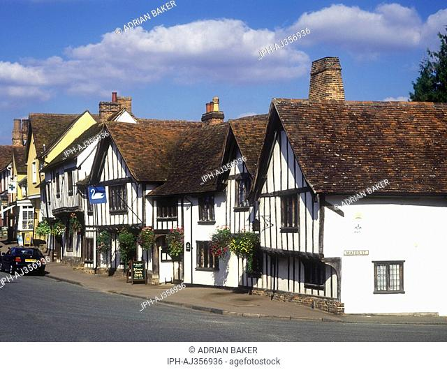 Street scene in the village of Lavenham showing the Swan Hotel, a medieval half-timbered building