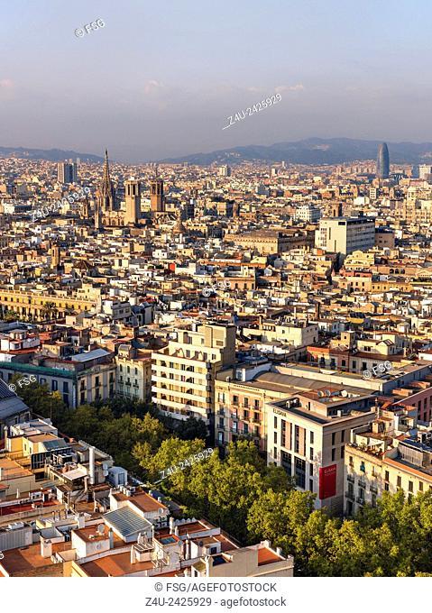 View of the Ramblas, Barcelona, Spain