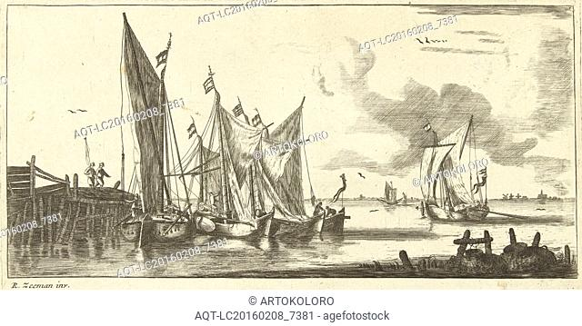 Tour Bangers or Toll Damse fishing boats, Anonymous, Bernardus Kleynhens, c. 1730 - 1760