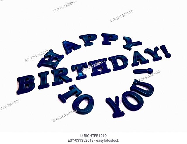 Dimensional inscription Happy birthday to you. 3D illustration