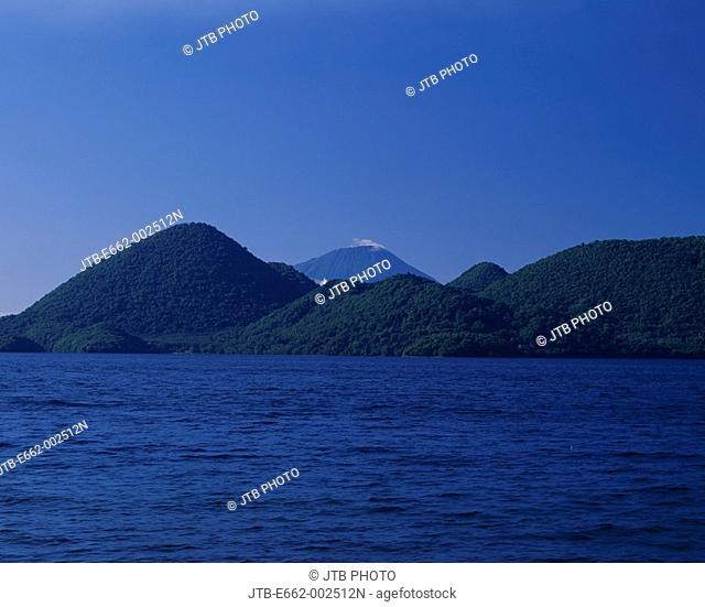 Toya lake Yoteizan Mountain Shikotsu-Toya National Park Hokkaido Japan Blue sky Mountain Green Lake