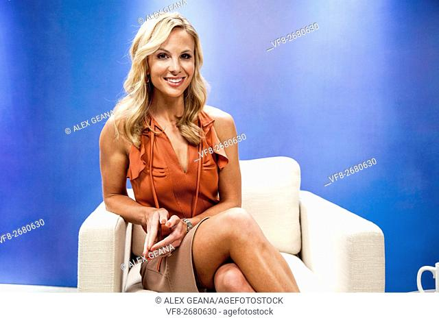 TV personality Elisabeth Hasselbeck on set for an infomercial made to look like a TV set