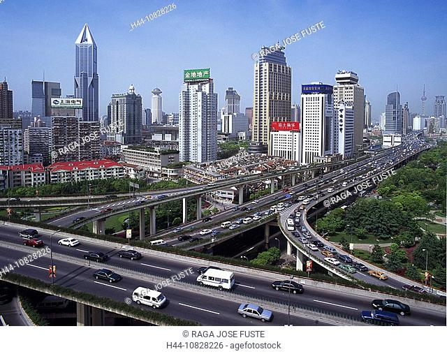 China, Asia, Shanghai, skyline, town, city, overview, transport, traffic, traffic, traffic jam, transport amount, cars