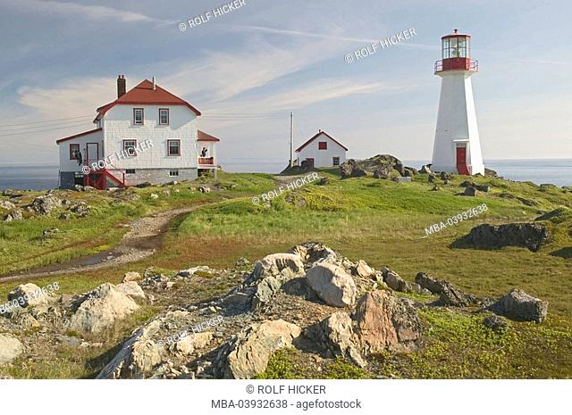 Canada, island Newfoundland, Quirpon Island, lighthouse, houses, North America, viking Trail, coast, Atlantic-coast, Strait of Belle Isle, Iceberg-Alley, tower