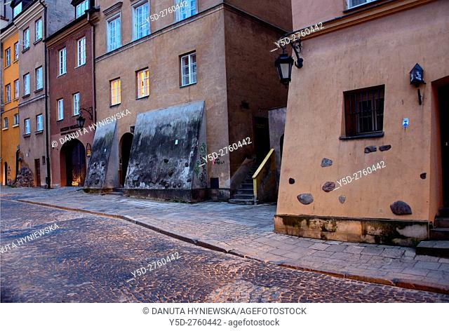 Brzozowa street, Old Town at dusk, UNESCO World Heritage, Warsaw, Poland, Europe